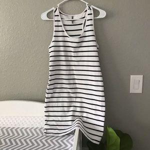 Black striped bodycon dress. Size L, runs small